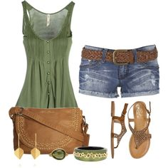 michelerussell on Polyvore gasp! cute green top with pretty leather bag and shorts. looks like a nice summer outfit