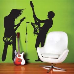 Use this awesome Wall Decal Guitar Hero to create cool and funky rock star atmosphere at your home. These Giant Wall Stickers come as a set of three decals, place them as you wish on your walls. Dance Studio Design, Decor Around Tv, Cool Wall Art, Frame Wall Decor, Wall Décor, Music Wall, Removable Wall Stickers, Picasa Web Albums, Kids Wall Decals