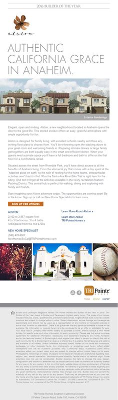 New Homes for Sale in Anaheim, California  Open the Door to New Home Living in Anaheim: Alston Coming Soon  Designed for family living, with excellent schools and three airy inviting floor plans to choose from.  Across from Riverdale Park!  https://www.tripointehomes.com/southern-california/alston/