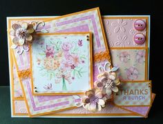 Thanks You Card using Card Companion Design Backing Papers from Sugar and Spice CD Die'sire Blossom Quilling Die Die'sire Fringed Flower Small Die Embossalicious Ditzy Floral Embossing Folder A4 Centura Pearl, Pink and Orange Card.  Glitter, Orange Lace and Pearl Pen