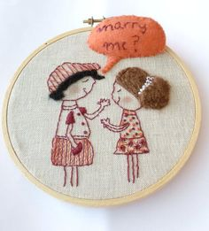 Will You Marry Me? - Marriage Proposal - Embroidery Hoop Wall Art - Hand Embroidery - Cartoon Wall Art - Cartoon Embroidery - Ready To Ship by stitchcreations on Etsy