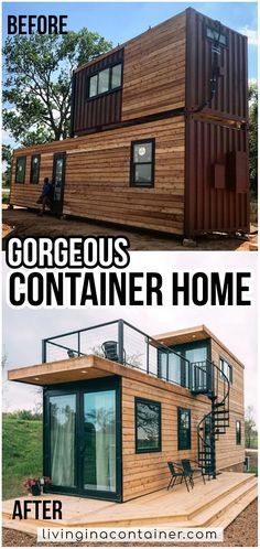 Tiny House Cabin, Tiny House Living, Tiny House Design, Modern House Design, Shipping Container Buildings, Shipping Container House Plans, Container Home Designs, Sea Container Homes, Tiny Houses For Rent
