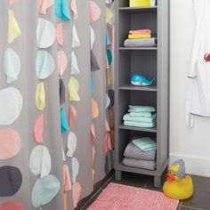 Bl Whale Bath Toy ***Gy 5 Cubic Tall Bookcase Mu Confetti Party Shwr Crtn Wh Squared Up Stool Bk Wh Nice Spot Shower Curtain Tubby the Tugboat Pi Stripe Organic Bath Towel Gy Stripe Dot Shower Curtain Kid Bathroom Decor, Boho Bathroom, Kid Bathrooms, Family Bathroom, Bathroom Interior, Small Bathroom, Bathroom Lighting, Teen Girl Bedrooms, Kids Bath