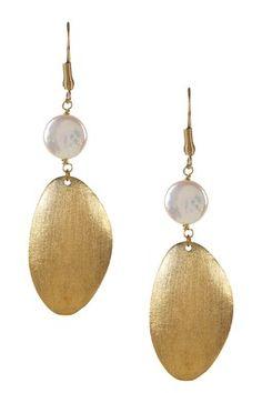 18K Gold Clad Coin Pearl & Organic Satin Dangle Earrings