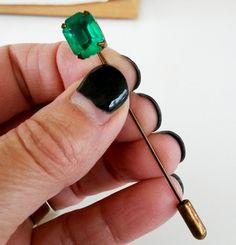 Vtg Sharon Rogoff NYC Emerald Green Stick Pin Brass Tone #SharonRogoff