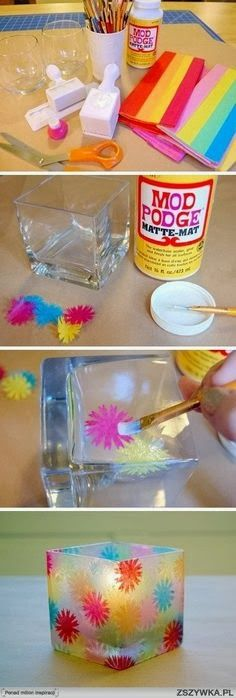 See the picz: Easy Craft Ideas. Tissue paper on glass to make candle holder.