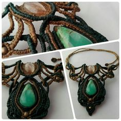 Handmade macrame necklace with Chrysoprase and Rutilated Quartz // by Maki Handmade