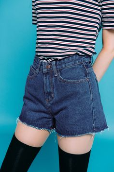d541762b918a Expand your warm weather wardrobe with these high-waisted denim shorts.  They come with