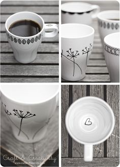 Design your own mugs - by Craft & Creativity : Cheap white mugs from Ikea and a Porcelain Pen