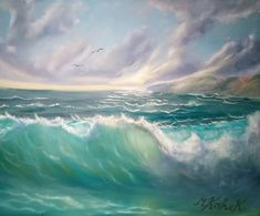 (c) The Wave by Marwan Kishek. Oil on canvas 20 Seascape Paintings, Oil Paintings, Oil On Canvas, Waves, Ocean, Clouds, Sky, Beach, Artist