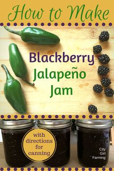 How to Make (and Can) Blackberry Jalapeno Jam Blackberry Jalapeno jam is a delightful mix of sweet blackberry jam with a tiny kick. The kick makes is a very versatile jam great for meats and appetizers. Blackberry Recipes, Homemade Blackberry Jam, Blackberry Margarita, Blackberry Drinks, Blackberry Cheesecake, Blackberry Smoothie, Blackberry Cobbler, Cheesecake Cupcakes, Kitchen