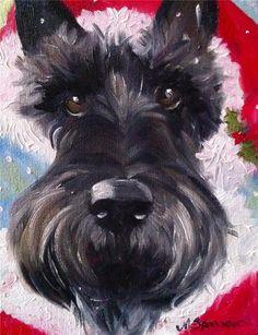 SPARROW Scottish terrier Brindle scottie sanda claus Christmas scotty painting | eBay
