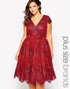Chi Chi London Plus Wrap Front Lace Prom Dress
