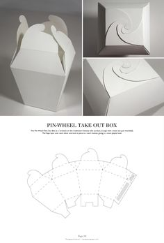 Pin-Wheel Take Out Box – Packaging & Dielines: The Designer's Book of Packag… - Diy Selbermachen Packaging Nets, Packaging Dielines, Packaging Box, Cardboard Packaging, Paper Packaging, Packaging Design, Retail Packaging, Buch Design, Craft Box