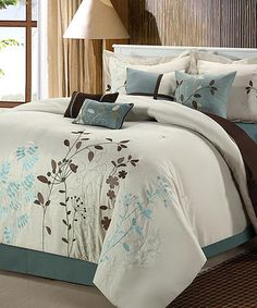 Take a look at this Beige Bliss Garden Comforter Set by Chic Home Design on #zulily today!