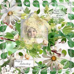 CAJOLINE-SCRAP: Le Printemps est arrivé!. Colección de elementos en blanco y verde.