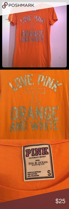 Rare Pink Victoria Secret Tennessee T Shirt Top EUC- These are rare & where limited Print. Super cute. Fits more relaxed & long!! 👍🏻😀 PINK Victoria's Secret Tops Tees - Short Sleeve