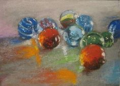 Glass Marbles - Pastel painting by Sharon Cave Glass Marbles, Cave, Pastel, Artwork, Painting, Cake, Work Of Art, Auguste Rodin Artwork, Painting Art