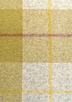Iona Wool Plaid Wool plaid in Khaki and Grey with a box check in yellow and burgundy.