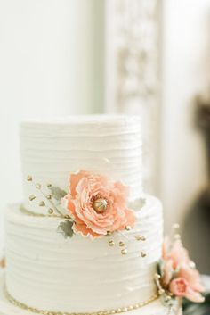 Simple Tiered Wedding Cake With Peach Flowers and Gold Beading | Photo: Sarah Ingram Photography & Design | Cake: The Frosted Affair