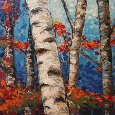 Original Birch tree painting contemporary palette knife art painting tree Landscape Heavy Texured Modern Painting by oak