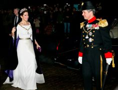 Members of the Danish Royal arrive for the annual New Years Day gala held at Amalienborg Palace.