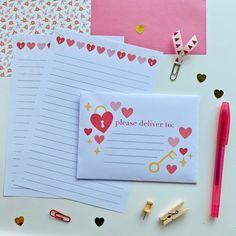 Cute Writing, Writing Paper, Letter Writing, Valentine's Day Letter, Letter Stationery, Pen Pal Letters, Paper Envelopes, Happy Mail