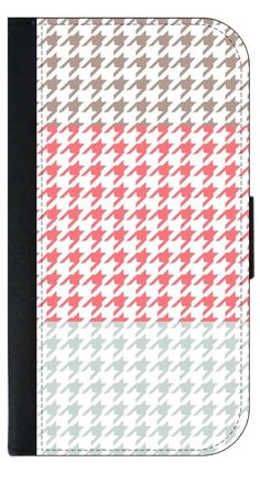 Colorblock Houndstooth-Light Brown, Pink,Grey Apple iPhone 7 Leather and Suede Wallet Style Phone Case Made in the USA. Quality Sturdy Wallet iPhone Case with Magnetic Flap Closure and 3 Inner Pockets for Storage; Compatible with the standard iPhone 7 phone model (Not the Compatible with the iPhone 7 Plus/7+). Quick Processing and Shipping! Satisfaction Guaranteed!. Vibrant Flat Printed Design; No Textured/3d/Metallic Print. Rosie Parker Inc.'s designs and images are registered with the...