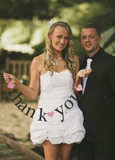 2 Banners.  SHIPS PRIORITY.  thank you AND mr & mrs.  Wedding Decorations.  Photo Prop.. $15.00, via Etsy.