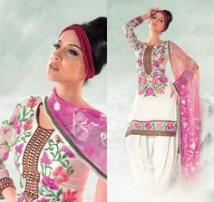 Cream And Pink Cotton Salwar Kameez 15408