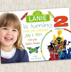Sesame Street Invitation - Custom Photo Printable Design on Etsy, $15.99 - Sesame Street Party