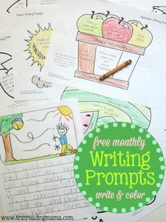 12 FREE Monthly Writing Prompts that Kids can Color! | This Reading Mama