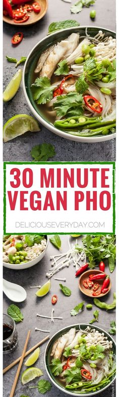 Vegan Pho in 30 Minutes This easy vegan pho recipe is the ultimate in comfort food. A delicious gluten-free spin on the classic Vietnamese noodle soup. Vegan Soups, Vegan Dishes, Vegan Vegetarian, Vegetarian Recipes, Healthy Recipes, Vegan Food, Vegetarian Noodle Soup, Vegetarian Comfort Food, Vegetarian Times