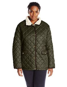 Women's Quilted Lightweight Jackets - Nautica Womens Plussize Diamond Quilted Barn Jacket -- For more information, visit image link.