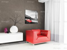 "Interno moderno con quadro ""Piccola auto rossa"" bimago.it // Modern interior with vintage canvas art"
