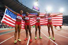 The relay team of (from left) Carmelita Jeter, Bianca Knight, Allyson Felix & Tianna Madison set a new world record
