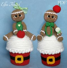 Elfin Thread- Giant Christmas Cupcake with Gingerbread Man Topper Amigurumi PDF Pattern (Crochet cupcake, Crochet gingerbread doll) by ElfinThread on Etsy
