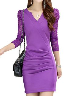 5f345d7a8f3 Chic V-Neck Puff Sleeve Lace Patchwork Nipped Waist Draped Women Bodycon  Dress on buytrends