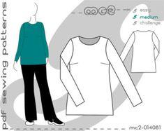 Tunic Dress Knit Jersey Plus Size (sizes: uk 18-24/ usa 14-20) SLOPER/BLOCK Sewing Digital pdf Pattern for Women >mc2patterns< mc2-014081