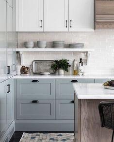 Blue Gray Kitchen Cabinets, Kitchen Cabinet Colors, Painting Kitchen Cabinets, Wood Cabinets, Blue Grey Kitchens, Kitchens With Painted Cabinets, Different Color Kitchen Cabinets, Cottage Kitchen Cabinets, Decorating Kitchen