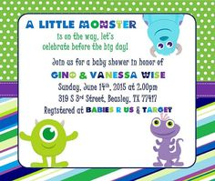 Mini monsters inc baby shower invitation boy or girl neutral monsters inc baby shower invitation printable filmwisefo