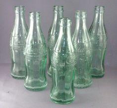 lot of six  Original coca cola 6.5 oz green soda bottles  #CocaCola