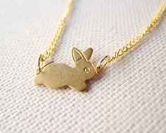 Bunny Necklace  Animal Jewelry  Brass Bunny by MistyAurora on Etsy, kr115.57