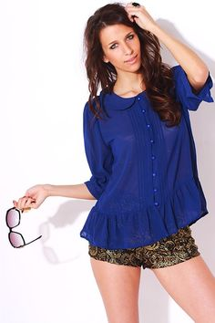 #1015store.com #fashion #style royal blue pleated peter pan collared button up ruffle bottom tunic blouse-$15.00