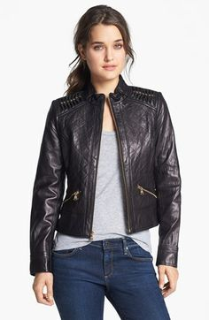 GUESS Shoulder Trim Quilted Leather Jacket (Nordstrom Exclusive) available at #Nordstrom