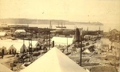Aftermath of Seattle fire of June 6, 1889, looking southwest toward the harbor, Washington.