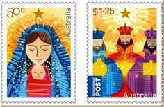 Christmas 2009 - Nativity Figures Mint Set of 2 Stamps Australia, 2009 Aussie Christmas, Australian Christmas, A Christmas Story, Christmas Art, Christmas Themes, Vintage Christmas, Christmas In Australia, Commemorative Stamps, Postage Stamp Art