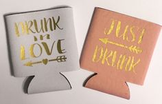 Drunk In Love. Collapsible Can Cooler / Coozie. Wedding Coozie