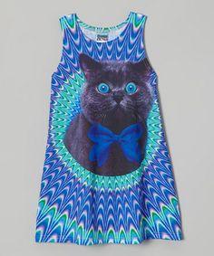 307afb65fde7d Mr. Gugu   Miss Go Blue Crazy Cat Sublimation Dress - Toddler   Girls