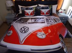 Volkswagen Bus Bedding #VWBus #VolkswagenBus #VolkswagenDecor #DuvetSet